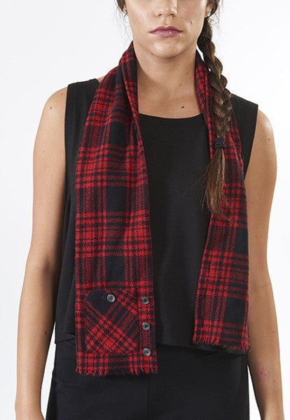 Red Plaid Vest Scarf - FOAT