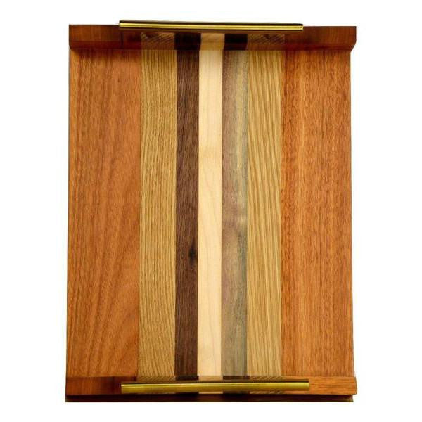 "Timber & Tulip - Callista Decorative Tray w/ Bar Handles 16"" - Tigerwood, Oak & Walnut"