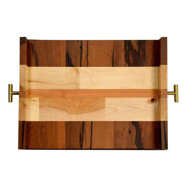 "Timber & Tulip - Callista Decorative Tray w/ T Handles 16"" -  Marblewood, Maple & Cherry"