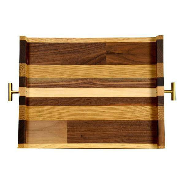"Timber & Tulip - Callista Decorative Tray w/ T Handles 16"" -  Walnut, Oak & Maple"