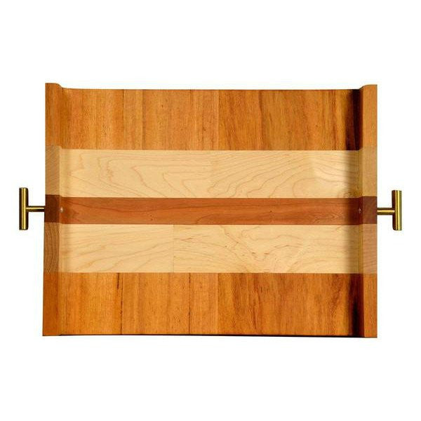 "Timber & Tulip - Callista Decorative Tray w/ T Handles 16"" -  Tigerwood, Maple & Cherry"