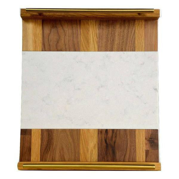 "Timber & Tulip - Callista Decorative Tray w/ Bar Handles 18"" -  Walnut, Oak & Stone"