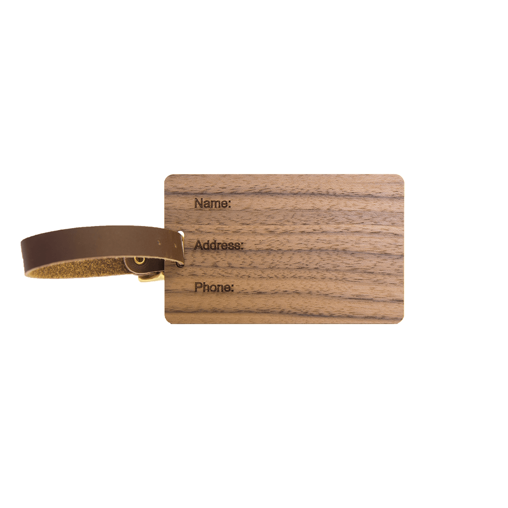 Wood Luggage Tags - Woodchuck USA - Walnut side 2