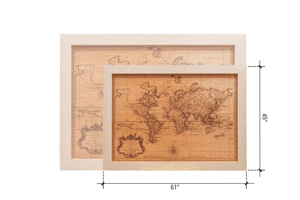 Large Wood World Map - Woodchuck USA