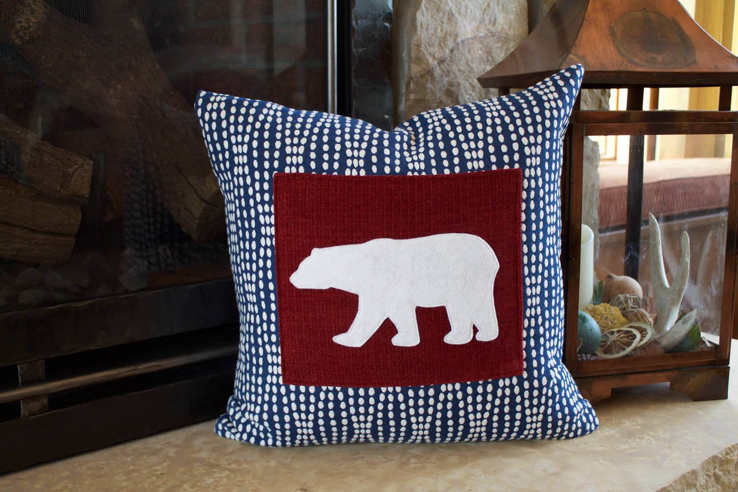BazaarMPLS, Teal Water Design - Navy and Red Polar Bear Pillow, Teal Water Design, , Shop Minnesota Online, Shop Local MN