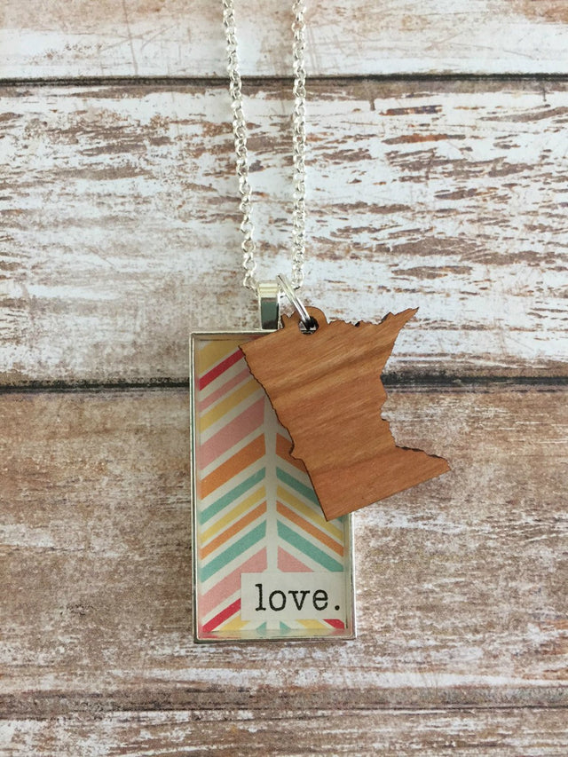 Wild Rose Studios - MN Love Necklace - Colorful ChevronWild-Rose-Studios