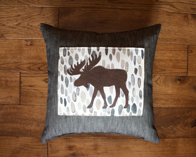 BazaarMPLS, Teal Water Design - Charcoal Moose Pillow, Teal Water Design, , Shop Minnesota Online, Shop Local MN