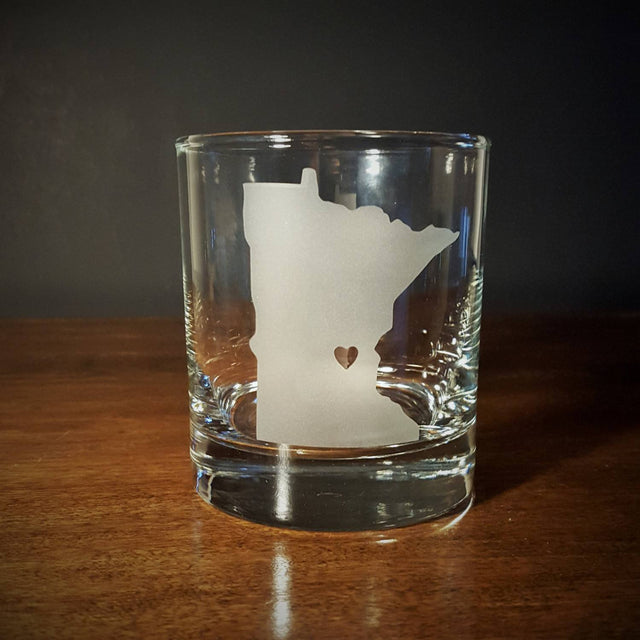 BazaarMPLS, TaylorCathleen - Minnesota Love Old Fasioned/Whiskey Lowball Glass, TaylorCathleen, , Shop Minnesota Online, Shop Local MN
