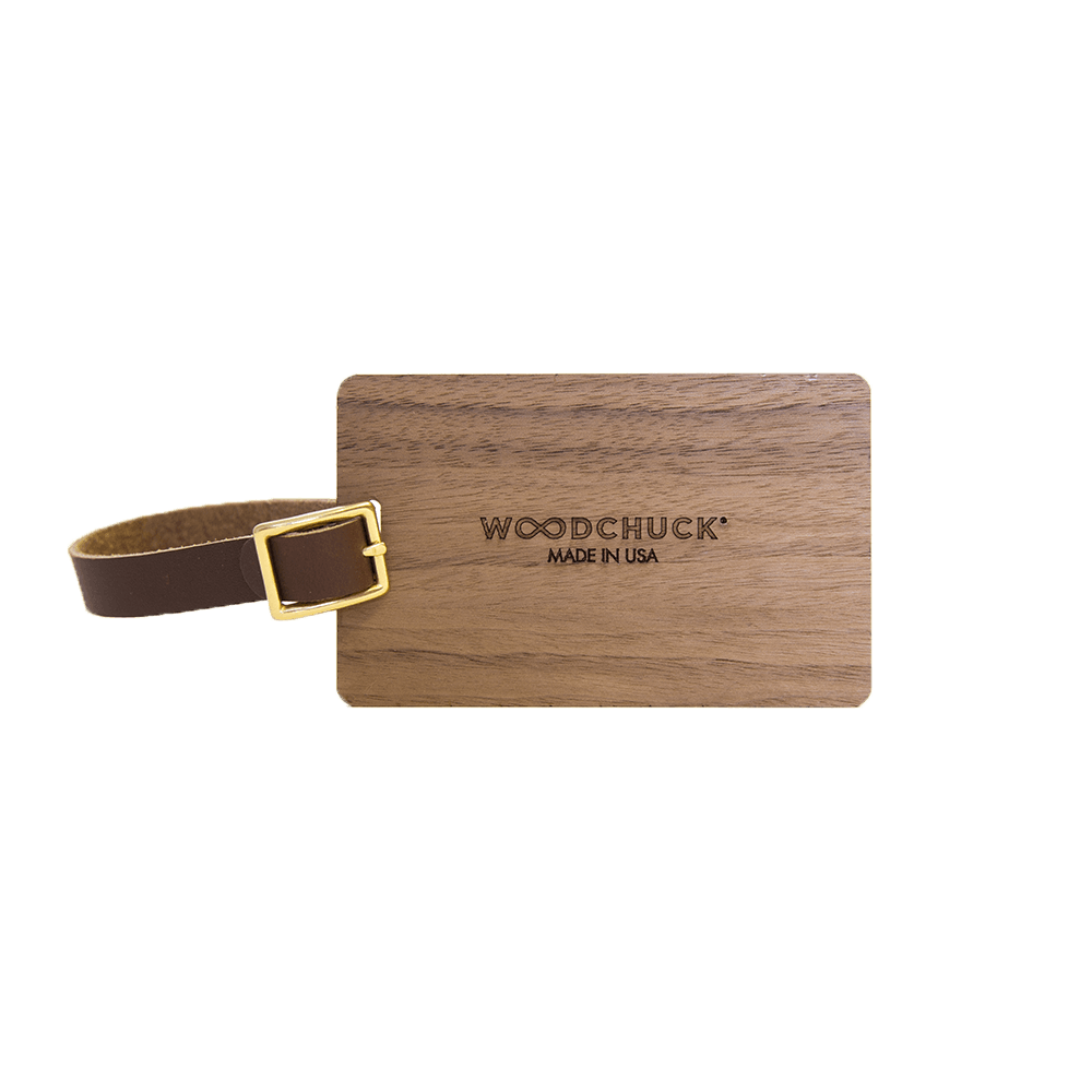 Wood Luggage Tags - Woodchuck USA - Walnut side 1