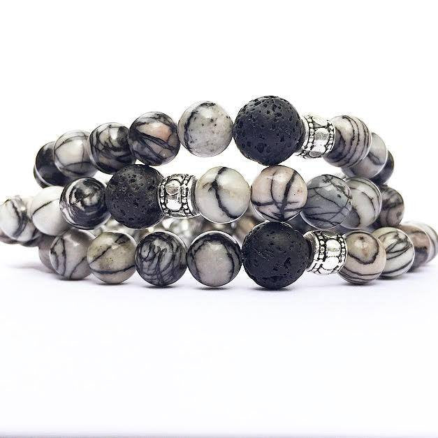My Naptime Jewelry - Zebra Grey White Black Jasper Stone Stacking Bracelet