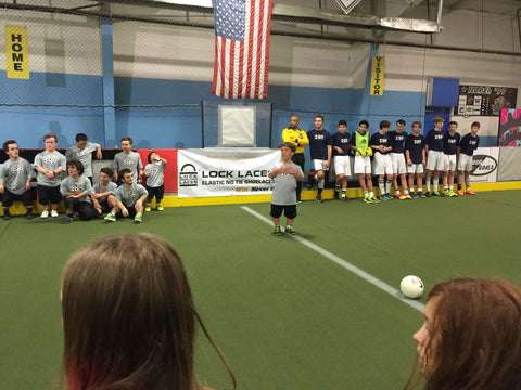 Zach Roloff gives a speech before his first annual Zach Roloff soccer fundraiser to bring awareness to dwarf athletics. Elastic no-tie shoelaces company Lock Laces was the chief and title sponsor.