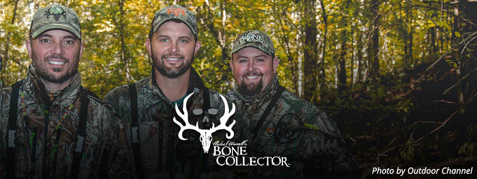 "Bone Collector's Michael Waddell, Nick Mundt and Travis ""T-Bone"" Turner pose for an Outdoor Channel photo shoot advertising their show, ""Bone Collector."""