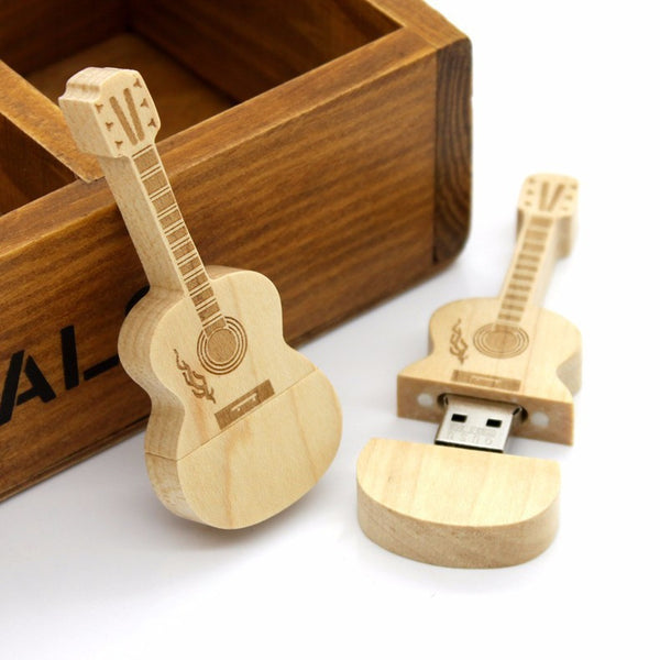 Bamboo Guitar Keychain with USB flash drive pendrive inside - OH MY!