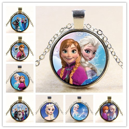 Frozen Princess ELSA Anna Silver Coated Glass Pendant Necklace Y014