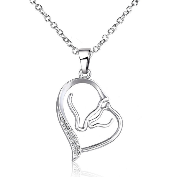 Crystal Horse and Foal Head Heart Pendant Necklaces For Women Silver Choker Necklace