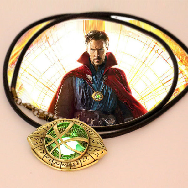Doctor Strange Glow in Dark Eye Shape Pendant Necklace  Antique Bronze (6cm x4.3cm) with Leather Cord