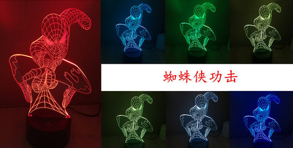 Superhero/Avengers 3D Illusion LED lamp | night light | 7 color changes | 15 styles