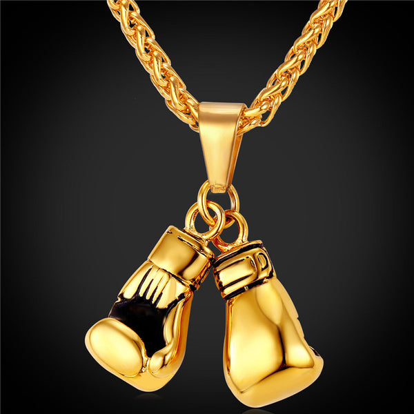Golden Boxing Glove Pendant Charm Necklace Sport | Stainless Steel Yellow Gold Plated Chain For Men or Women