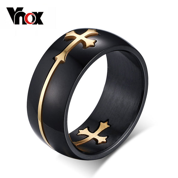 Vnox Separateable Cross Ring for Men Woman Black Color Stainless Steel Cool Male Design Jewelry
