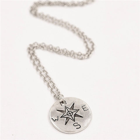 Compass Pendant Necklace Box chain not all who wander are lost Find your true north necklace