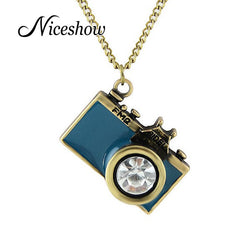 Anitque Gold Long Chain Colorful Enamel Camera Pendant Necklace Top Selling collier femme
