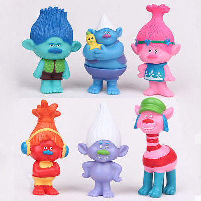 Trolls Movie Characters Minifigures (11cm 4.3inch Height) Action Figures Doll (6Pcs/set)