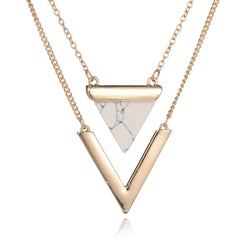 Gold Plated Geometric Triangle and Faux Marble Stone Pendant Womens Necklaces From India - TFC