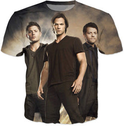 Sexy Supernatural Sam Dean and Castiel 3D Quality Tshirts | 10 Styles