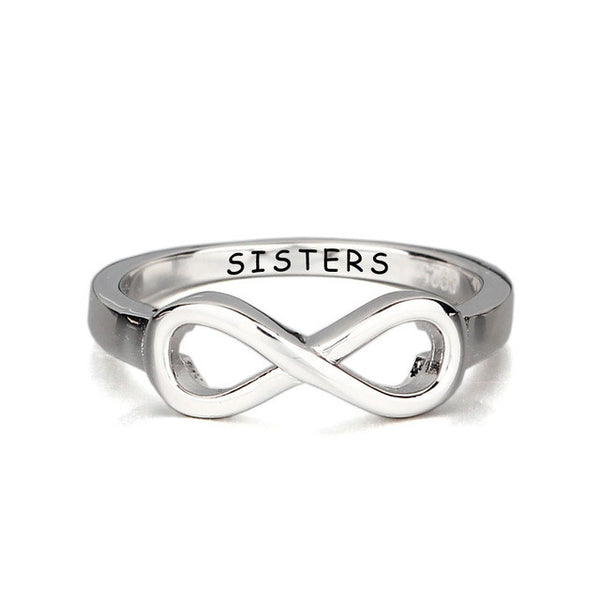Sister Infinity 925 Sterling Silver Ring | Engraved Sister Ring
