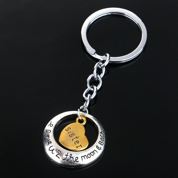 Sister Love Heart Key Chain, Bag Chain or Accessory