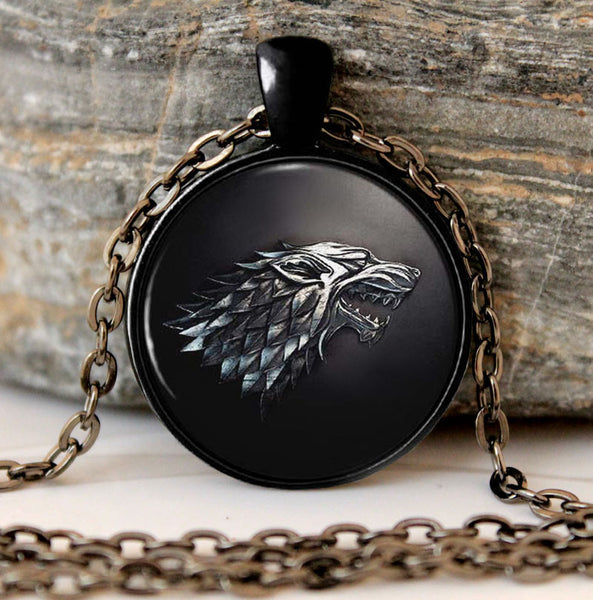 Game of Thrones House of Stark Black Wolf  and GoT world Map Pendant Necklaces