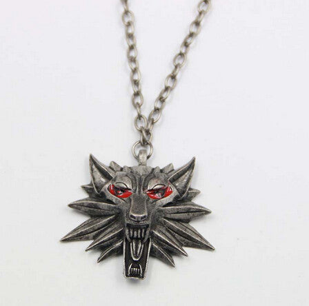 Witcher 3 Medallion Pendant Necklace Wolf Head Necklace U Pick Color Halloween Necklace & Pendants