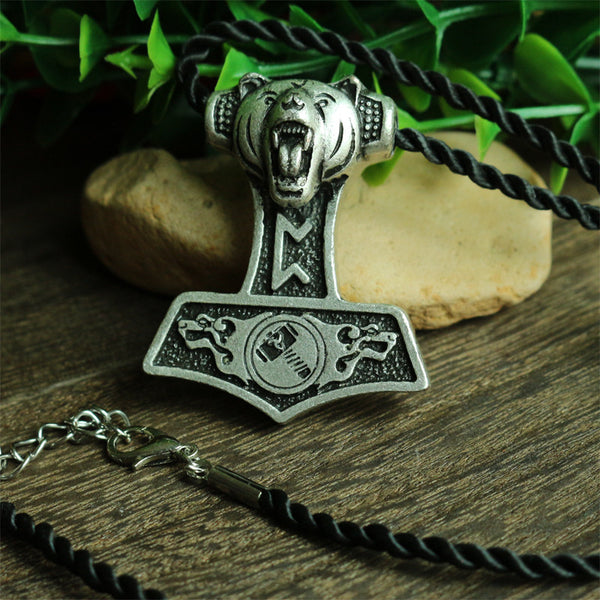 TV Series | Vikings inspired norse bear atop Thor's Hammer pendant