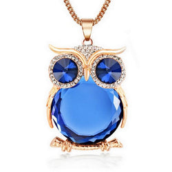 Trendy Owl Rhinestone Pendant Necklace | Crystal Jewelry Statement Womens Necklace