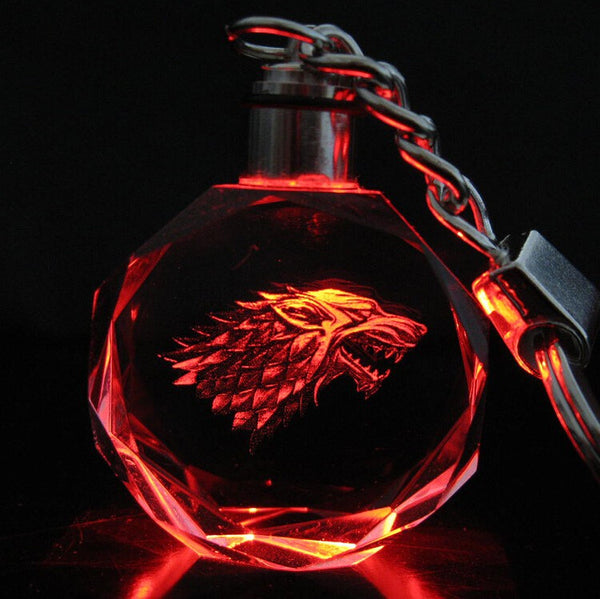 Game of Thrones House Stark Keychain | Winterfell Wolf Symbol Crystal Key Chain w LED Color Light
