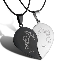 Couple Broken Heart Black Cord Choker Necklaces | Stainless Steel Engraved Love You Pendants (2pcs) - TFC