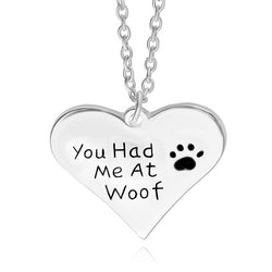 """You had me at woof"" Dog Lover Heart and Paw Print Pendant Necklace"