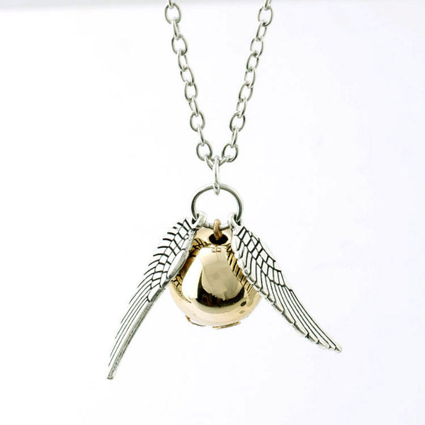 Harry Potter Deathly Hallows Pendant Necklace | Gold Snitch Exquisite Ball Wings Feather Necklaces & Pendants