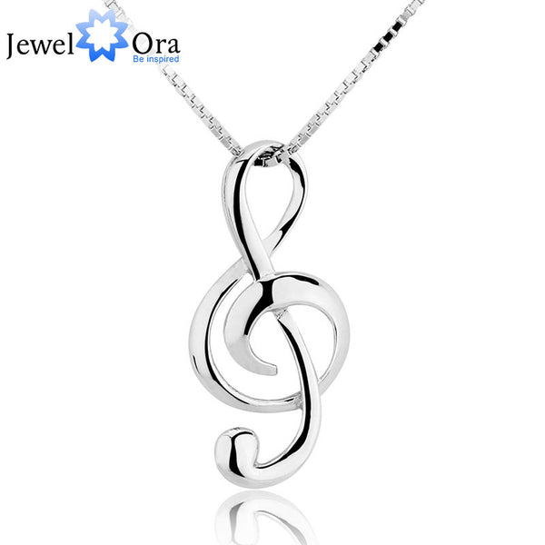 Musical Note Necklaces & Pendants Treble Clef Jewelry Elegant Women Silver Necklace