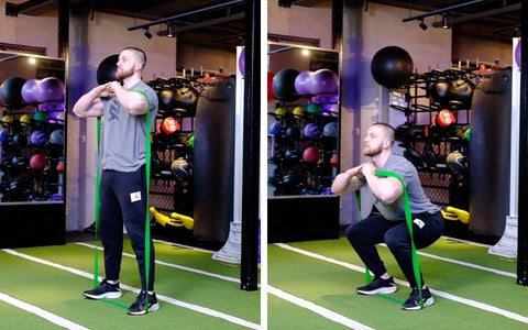 front squat with band