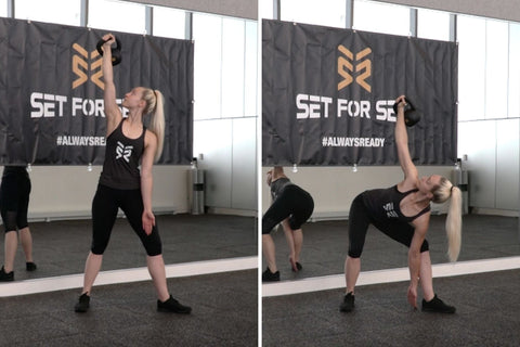 oblique exercise with kettlebell