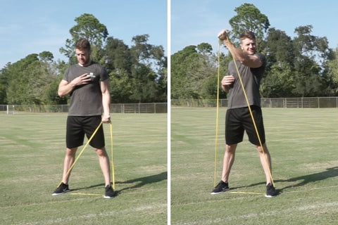 single arm crossover with resistance band