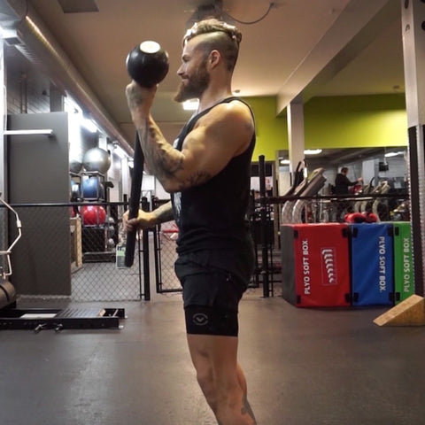 steel mace and kettlebell arm workout
