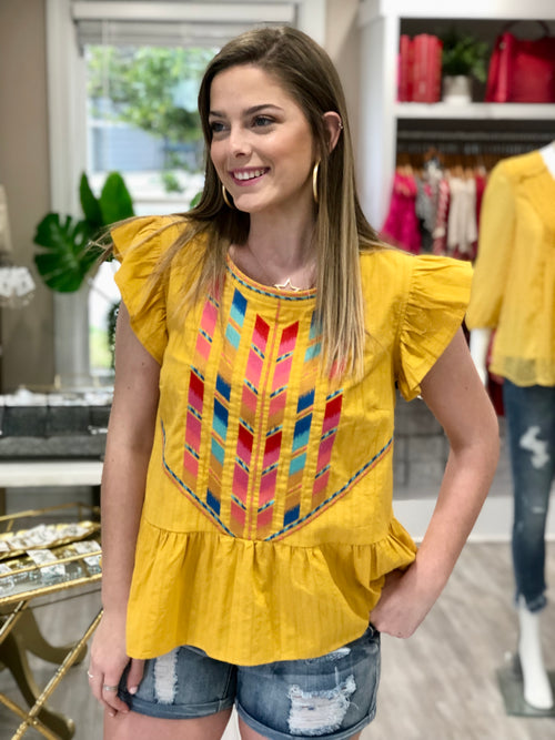 Flutter Sleeve Geometric Embroidered Top