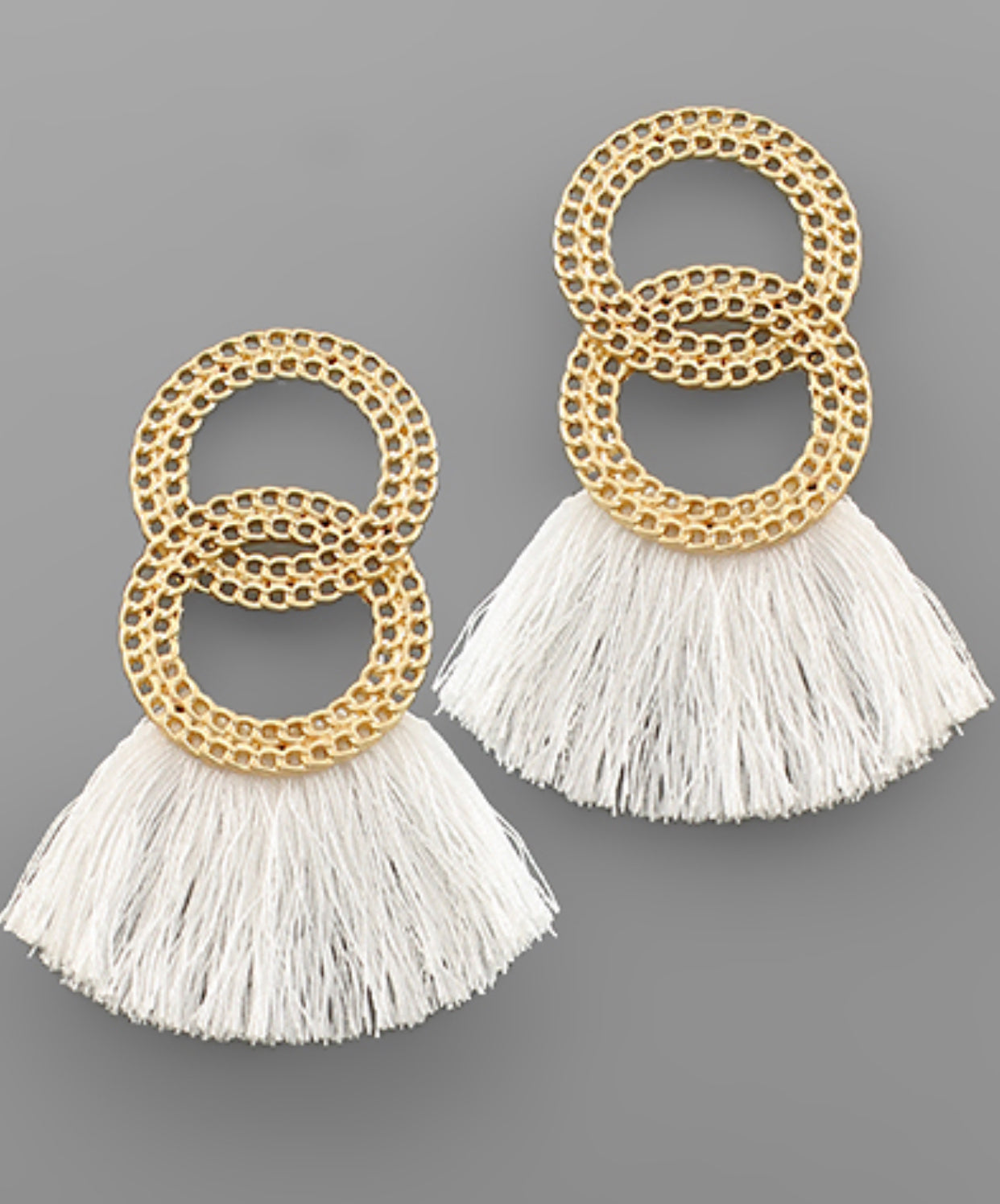 2 Chain Circle & Tassel Earrings