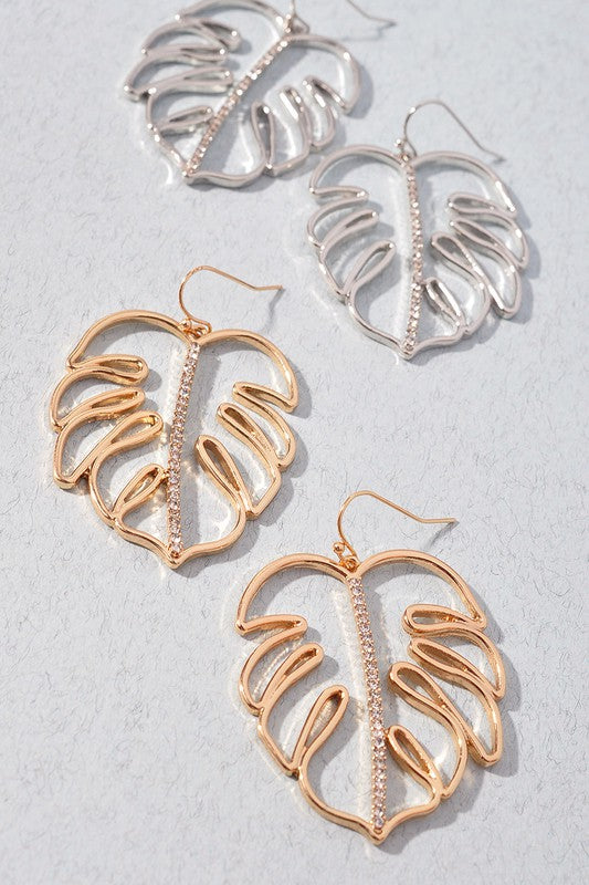 Rhinestone Palm Leaf Earrings