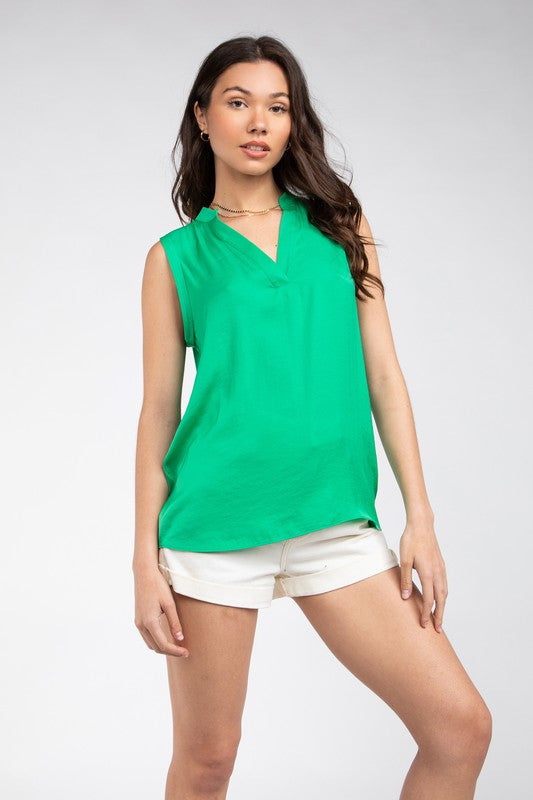 Mandarin Collar Sleeveless Top