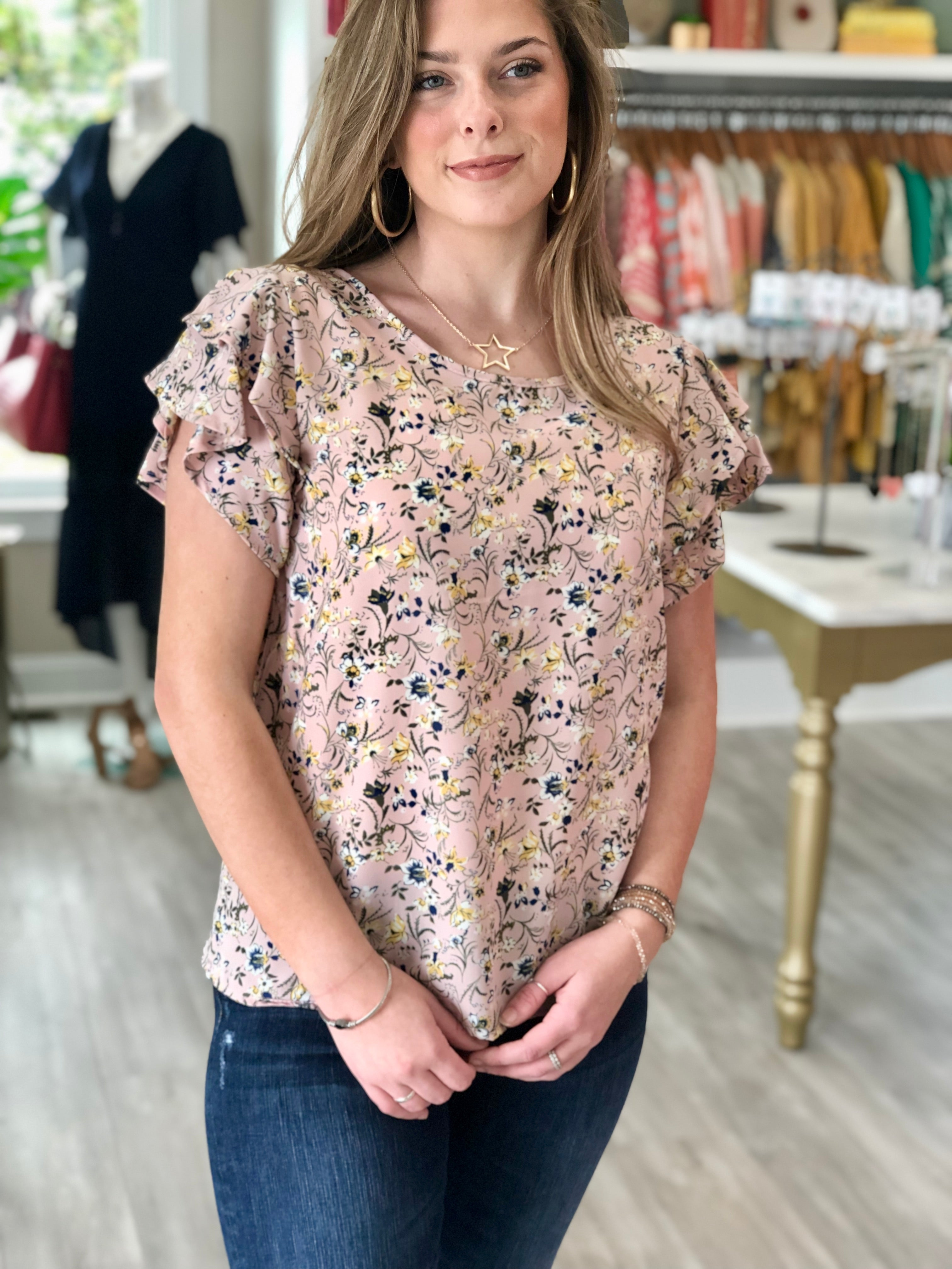 Floral Print Ruffle Short Sleeve Top