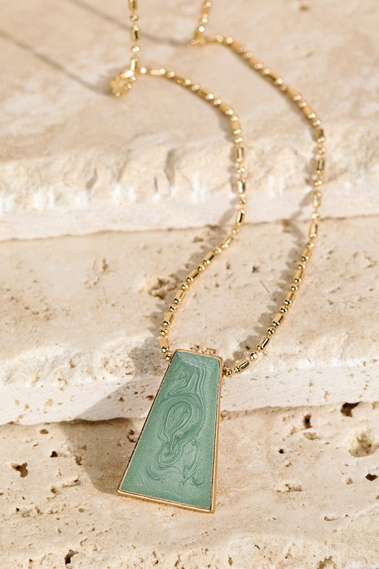 Enamel Trapezoid Necklace
