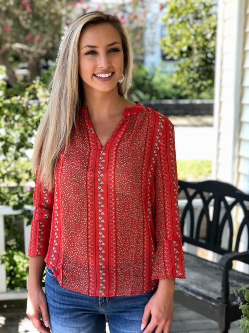 V-Neck 3/4 Bell Sleeve Print Top